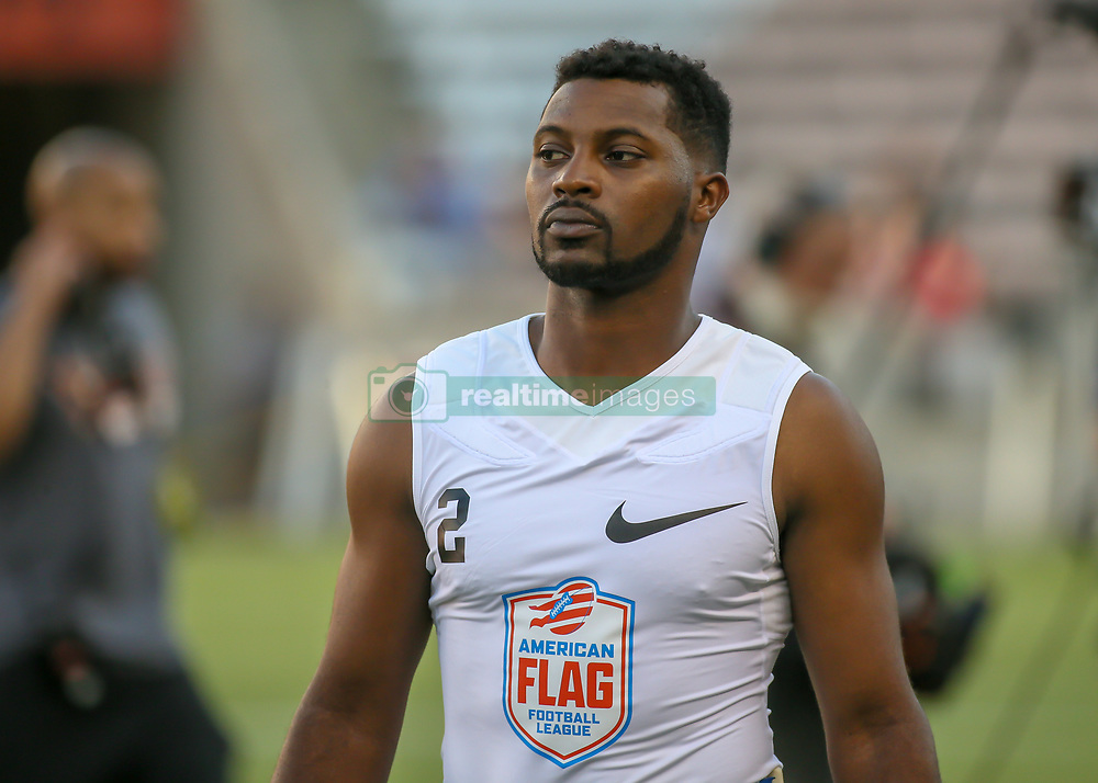 July 19, 2018 - Houston, TX, U.S. - HOUSTON, TX - JULY 19:  Fighting Cancer running back Turhan TJ Glover (2) warms up during the American Flag Football League Ultimate Final game between the Fighting Cancer and Godspeed on July 19, 2018 at BBVA Compass Stadium in Houston, Texas.  (Photo by Leslie Plaza Johnson/Icon Sportswire) (Credit Image: © Leslie Plaza Johnson/Icon SMI via ZUMA Press)