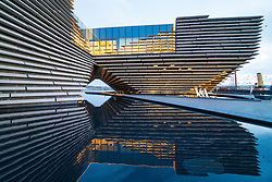 Exterior view of new V&A Museum in the evening in Dundee, Scotland, UK. Architect Kengo Kuma.