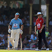 Steve Waugh and Sir Michael Parkinson share during Australia's Big Bash Cricket match to raise money for the Victorian Bushfire Appeal at the Sydney Cricket Ground, Sydney, Australia on February 22, 2009. The match was attended by over 20,000 spectators. Photo Tim Clayton