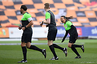 Football - 2020 / 2021 Sky Bet League Two - Newport County  vs Cheltenham Town - Rodney Parade<br /> <br /> Assistant Referee Lisa Rashid during the pre-match warm-up with Referee Scott Oldham (middle) and Grant Taylor.<br /> <br /> COLORSPORT/ASHLEY WESTERN