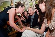 SURANNE JONES; DIRECTOR MAX STAFFORD-CLARK; STELLA FEEHY; LISA KERR, Caryl Churchill's Top Girls opening night at the Trafalgar Studios. Party afterwards in Walker's Court. London. 16 August 2011. <br /> <br />  , -DO NOT ARCHIVE-© Copyright Photograph by Dafydd Jones. 248 Clapham Rd. London SW9 0PZ. Tel 0207 820 0771. www.dafjones.com.
