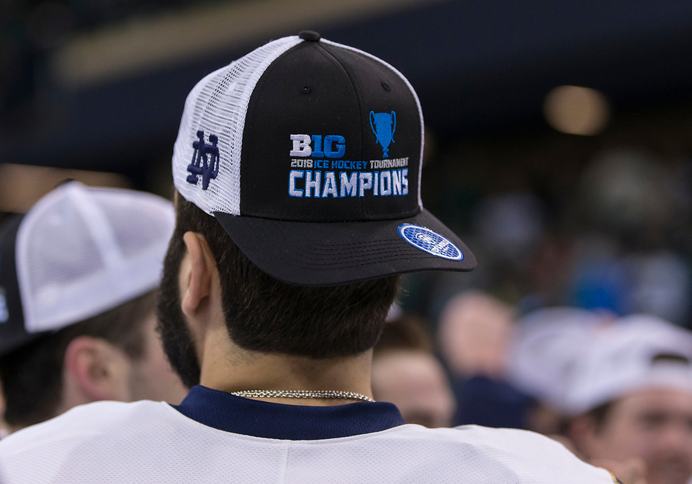 March 17, 2018:  A general view of Big Ten Hockey Championship hat after NCAA Hockey game action between the Notre Dame Fighting Irish and the Ohio State Buckeyes at Compton Family Ice Arena in South Bend, Indiana.  Notre Dame defeated Ohio State 3-2 in overtime.  John Mersits/CSM