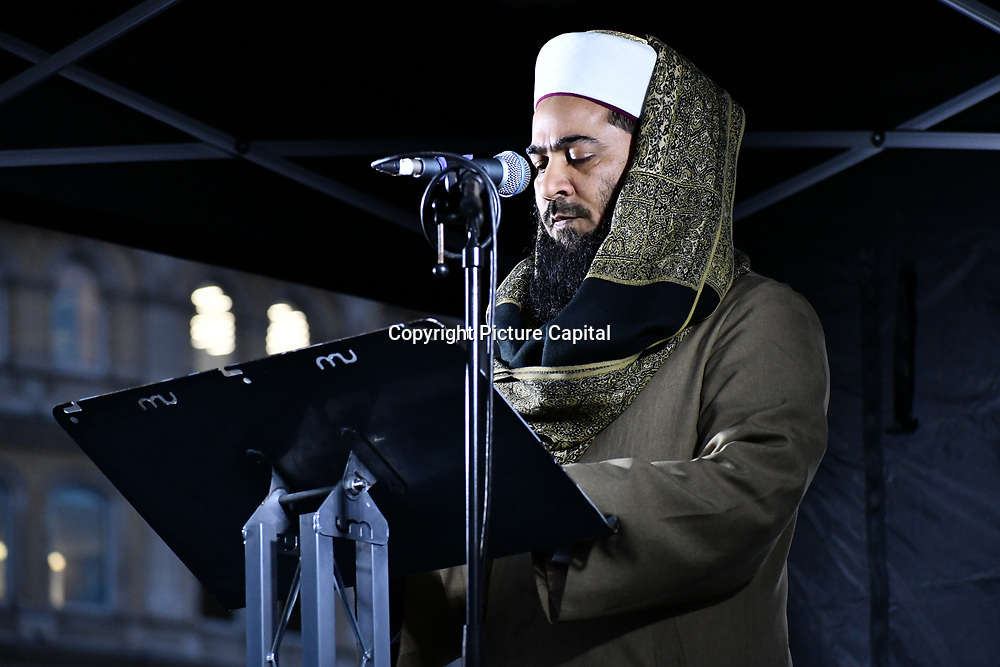 A Imam give a pray of the terror attacks in New Zealan #Christchurch Mosque in Trafalgar Square on 21 March 2019, London, UK.