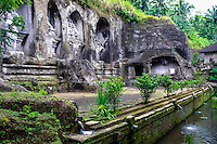 Bali, Gianyar, Gunung Kawi. An 11th century temple complex close to Tampaksiring. The eastern part of Gunung Kawi.