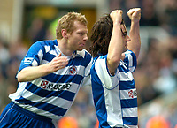 Photo: Gareth Davies.<br />Reading v West Ham United. The Barclays Premiership. 01/01/2007.<br />Reading's Steven Hunt (R) celebrates after scoring his teams second with Brynjar Gunnarsson (L) scorer of his teams first.