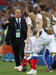SOCHI, July 7, 2018  Head coach Stanislav Cherchesov (L) of Russia reacts during the 2018 FIFA World Cup quarter-final match between Russia and Croatia in Sochi, Russia, July 7, 2018. (Credit Image: © Cao Can/Xinhua via ZUMA Wire)