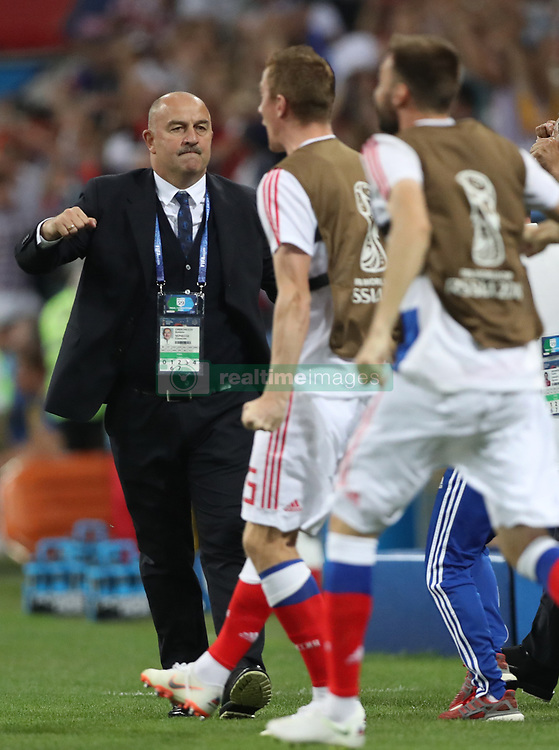 SOCHI, July 7, 2018  Head coach Stanislav Cherchesov (L) of Russia reacts during the 2018 FIFA World Cup quarter-final match between Russia and Croatia in Sochi, Russia, July 7, 2018. (Credit Image: © Cao Can/Xinhua via ZUMA Wire)