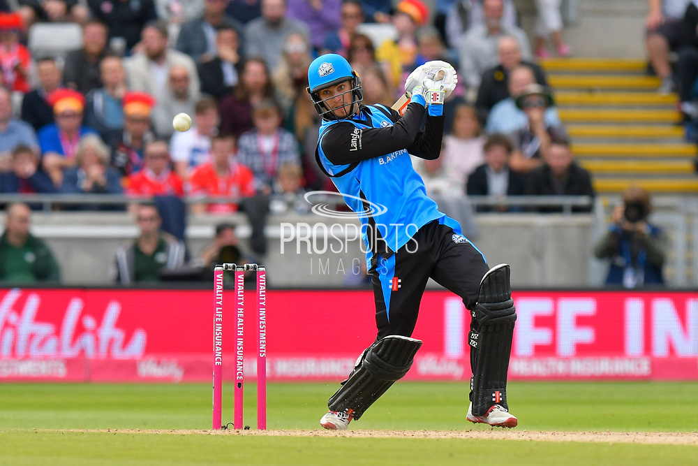 Ed Barnard of Worcestershire plays an attacking shot during the Vitality T20 Finals Day Semi Final 2018 match between Worcestershire Rapids and Lancashire Lightning at Edgbaston, Birmingham, United Kingdom on 15 September 2018.