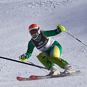 Melissa Perrine, Australia, with her guide Andrew Bor, (not in frame) in action during the Women's Slalom Visually Impaired Adaptive Slalom competition at Coronet Peak, New Zealand during the Winter Games. Queenstown, New Zealand, 25th August 2011. Photo Tim Clayton