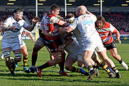 Gloucester flanker Jake Polledri is blocked during the Aviva Premiership match between Gloucester Rugby and Wasps at the Kingsholm Stadium, Gloucester, United Kingdom on 24 February 2018. Picture by Alan Franklin.