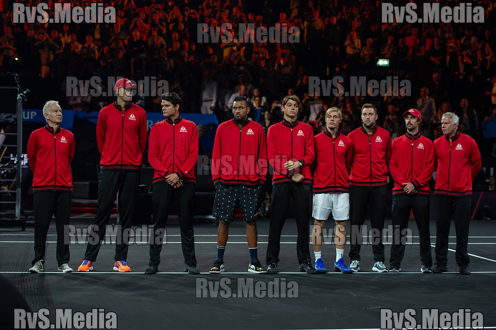 GENEVA, SWITZERLAND - SEPTEMBER 20: Team World during Day 1 of the Laver Cup 2019 at Palexpo on September 20, 2019 in Geneva, Switzerland. The Laver Cup will see six players from the rest of the World competing against their counterparts from Europe. Team World is captained by John McEnroe and Team Europe is captained by Bjorn Borg. The tournament runs from September 20-22. (Photo by Monika Majer/RvS.Media)