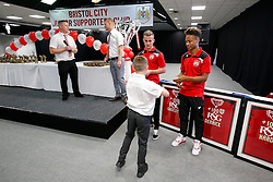 Bristol City first team players Joe Bryan and Bobby Reid attend the Bristol City Junior Supporters Club Presentation Evening in the Dolman Concourse at Ashton Gate - Mandatory byline: Rogan Thomson/JMP - 02/07/2016 - FOOTBALL - Ashton Gate Stadium - Bristol, England.