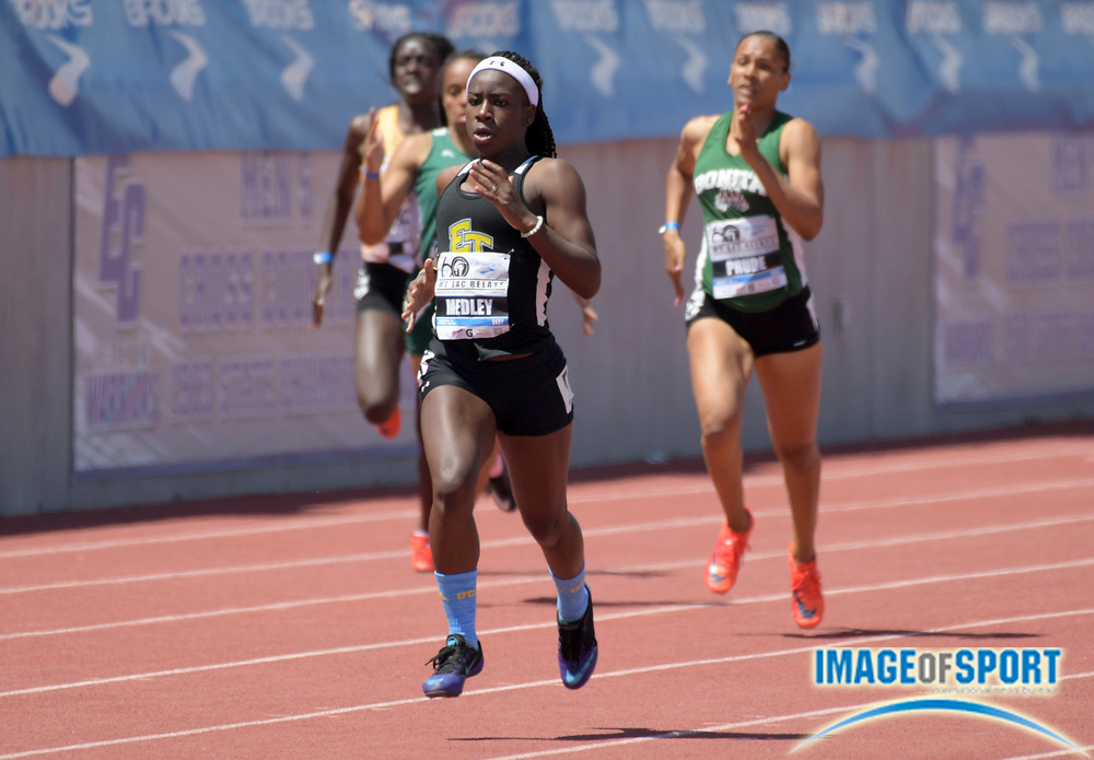 Apr 21, 2018; Torrance, CA, USA; Milayah Medley of El Toro wins the girls 400m in 54.71 during the 60th Mt. San Antonio College Relays at Murdock Stadium.
