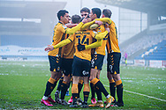 GOAL 0-1 Cambridge United celebrate their first goal during the EFL Sky Bet League 2 match between Colchester United and Cambridge United at the JobServe Community Stadium, Colchester, England on 16 January 2021.