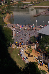 Stock photo of an aerial view of the park and pond