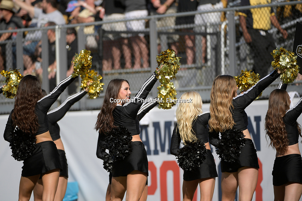 Central Florida dancers perform on the sideline during the second half of the American Athletic Conference championship NCAA college football game against Memphis Saturday, Dec. 2, 2017, in Orlando, Fla. Central Florida won 62-55. (Photo by Phelan M. Ebenhack)