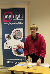 Chair speaking at the AGM of Mysight, a charity for people with visual impairments.
