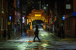 © Licensed to London News Pictures. 03/10/2020. Manchester, UK. All restaurants in China Town appear closed at 22:56 . Pubs, bars and clubs close at 10pm in Manchester City Centre in order to comply with measures introduced to combat the spread of Coronavirus. Photo credit: Joel Goodman/LNP
