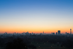 London, December 12 2017. London's skyline awaits the sunrise on a clear very cold morning in London, seen from Primrose Hill in Camden. © Paul Davey