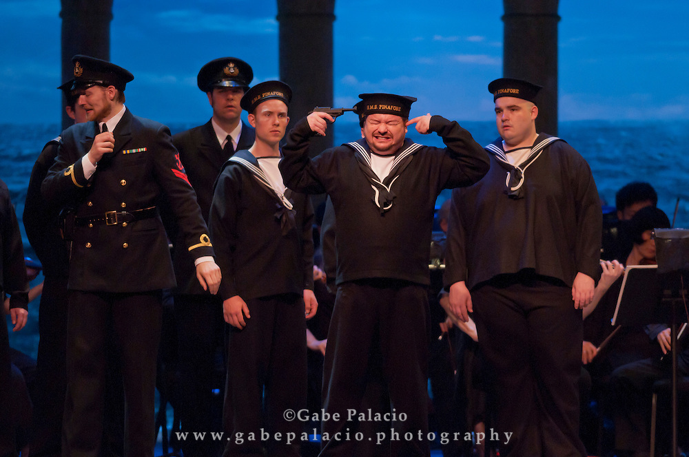 Robert McPherson, tenor, in the role of Ralph Rackstraw, during the performance of HMS Pinafore, a Bel Canto at Caramoor performance in the Venetian Theater of Caramoor in Katonah New York..photo by Gabe Palacio