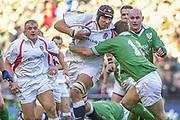 Twickenham. Surrey, UK., 16th February 2002, Six Nations International Rugby,  RFU Stadium, England vs Ireland,  [Mandatory Credit: Peter Spurrier/Intersport Images],<br /> <br /> The Lloyds TSB Six Nations Championship<br /> England v Ireland<br /> RFU - Twickenham<br /> 16/02/2002<br /> Ben Kay on the charge