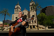 August 15, 2016. Mariachi player Salvador Ojeda poses for a portrait in downtown Phoenix.