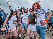 A group dressed as tennis stars with different themes for each day - The 2017 Glastonbury Festival, Worthy Farm. Glastonbury, 24 June 2017