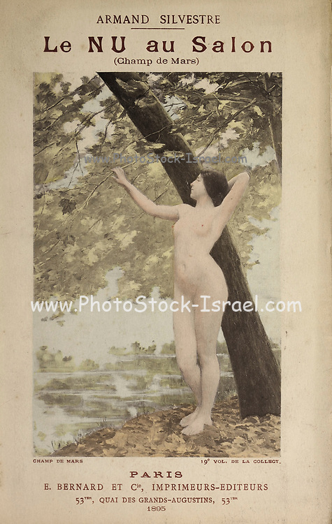 Front cover hand colored photograph of a nude woman standing under a tree. from Le Nu au Salon 1895 A collection of Nude photography published in Paris in 1908 by Societe nationale des beaux-arts (France). et Societe des artistes francais. Catalogues of nudes exhibited at the official Paris Salons. Risqué photography is material that is slightly indecent or liable to shock, especially as sexually suggestive.