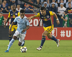 September 20, 2017 - Kansas City, Kansas, U.S - Sporting KC forward Latif Blessing #9 (l) is on defense against NY Red Bulls midfielder Felipe #8 (r) during the second half of the game. Sporting KC will win the 2017 Lamar Hunt Open Cup championship with a score of 2-1 over the New York Red Bulls. (Credit Image: © Serena S.Y. Hsu via ZUMA Wire)