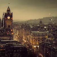 The Balmoral Hotel and Princes Street from Calton hill, Edinburgh