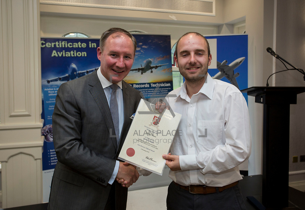 24.05.2018.       <br /> The Limerick Institute of Technology with Atlantic Air Adventures and funding from the Aviation Skillnet presented over forty certificates to Aviation professionals who have completed the Certificate in Aviation, The Aircraft Records Technician Level 7 and Part 21 Design, Level 7.<br /> <br /> Pictured at the event was Jim Gavin, The Irish Aviation Authority and Manager of the Dublin Football Team who presented, Nikolay Nenov with their cert.<br /> <br /> LIT in partnership with Atlantic Air Adventures, CAE Parc Aviation, Part 21 Design and industry experts such as Anton Tams, GECAS, Don Salmon, CAE Parc Aviation and Mick Malone, Part 21 Design have developed and deliver these key training programmes with funding for aviation companies provided by The Aviation Skillnet.<br /> <br /> . Picture: Alan Place