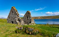 View of Finlaggan historical monument site on Eilean Mòr on Loch Finlaggan, Islay, Inner Hebrides, Scotland, UK