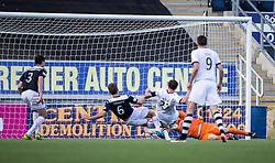 Dumbarton's Chris Kane scoring their goal.<br /> Falkirk 1v 1 Dumbarton, Scottish Championship game played 20/9/2014 at The Falkirk Stadium .