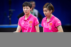 April 14, 2017 - Wuxi, Wuxi, China - Wuxi, CHINA-April 14 2017: (EDITORIAL USE ONLY. CHINA OUT)..Chinese table tennis players Wang Manyu and Chen Ke defeat their counterpart in women's double quarterfinal at the Asian Table Tennis Championships in Wuxi, east China's Jiangsu Province, April 14th, 2017. (Credit Image: © SIPA Asia via ZUMA Wire)