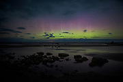 Night sky with Aurora borealis over rocky seashore, Mērsrags, Kurzeme Seacoast, Latvia, Ⓒ Davis Ulands | davisulands.com