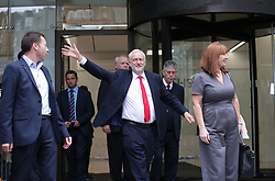 """Jeremy Corbyn leaves Labour Party HQ in central London after he reiterated his call for Theresa May to resign as Prime Minister and said his party had achieved an """"incredible result"""" in the General Election, putting on more than three million votes and gaining seats all over the UK."""