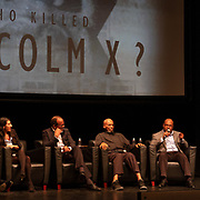 Q&A at the Ark Media Premiere of the film Who Killed Malcolm X? From left to right, Muhammad Abdul Aziz , Abdur Rahman Muhammad