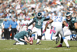 Philadelphia Eagles kicker Alex Henery (6) kicks a field goal during the NFL game between the Detroit Lions and the Philadelphia Eagles on Sunday, October 14th 2012 in Philadelphia. The Lions won 26-23 in Overtime. (Photo by Brian Garfinkel)