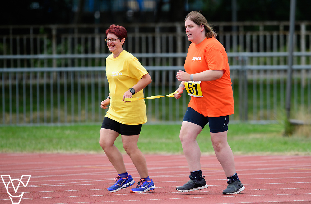 Event: 400 meters<br /> Competitors, from left: Becky King<br /> <br /> Metro Blind Sport's 42nd Athletics Open, held at Mile End Stadium, Tower Hamlets, London.<br /> <br /> Picture: Chris Vaughan Photography for Metro Blind Sports<br /> Date: June 16, 2018