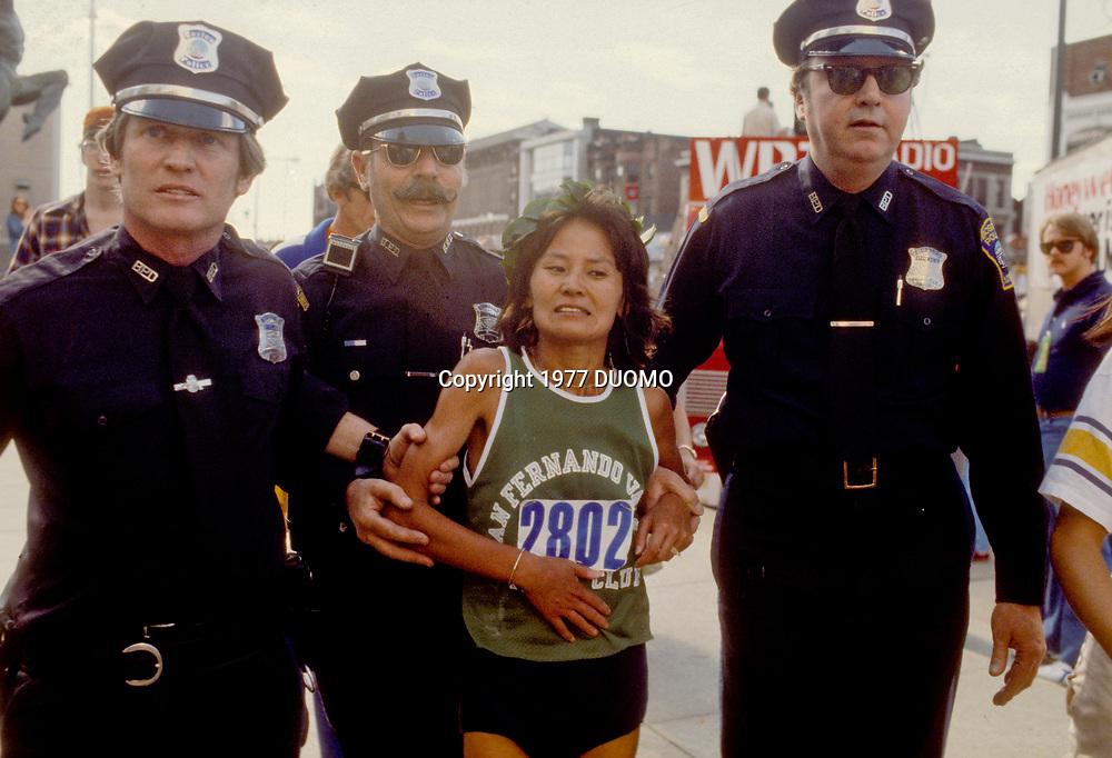 Miki Gorman after winning the 1977 Boston Marathon.