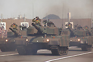 October, 23, 2016, Asaka, Saitama Prefecture: A tank unit of the Japan Self Defense Force (JSDF) is paraded during an annual military review held at the Asaka Training Area, a JSDF base on the outskirts of Tokyo. For this event, Prime Minister Shinzo Abe, top ranking Japanese military brass and international dignitaries were in attendance to view Japan's military might. This included 4000 troops, 27 divisions, 280 vehicles and artillery, plus 50 aircraft of the Ground, Air, and Maritime branches of the JSDF. (Torin Boyd/Polaris).