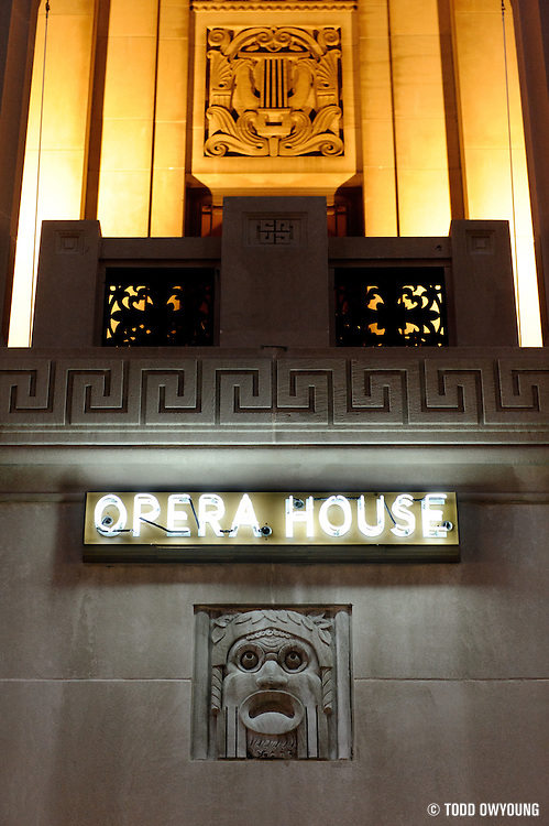 Exterior details at the newly rennovated Peabody Opera House before the performance by Widespread Panic on their 25th anniversary tour in St. Louis on October 12, 2011.