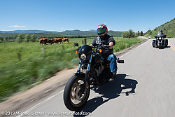 Bob Pick of Centennial, CO and member of the Rocky Mountain HOG Chapter on his 2011 Lowrider Sriding the 20 Mile Road in Steamboat Springs during the Rocky Mountain Regional HOG Rally, Colorado, USA. Saturday June 10, 2017. Photography ©2017 Michael Lichter.