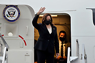MEXICO CITY, MEXICO - JUNE 8: Vice President Kamala Harris, boards  the presidential plane,  from Benito Juarez International  Airport, en route for Joint Base Andrews in Washington, DC. after her working visit of Guatemala and Mexico to speak with Latin American authorities about migratory policy on June 8, 2021 in Mexico City, Mexico.
