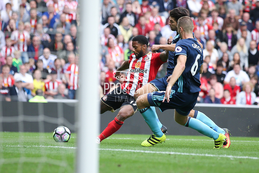 Sunderland forward Jeremain Lens (17) has his shot charged down during the Premier League match between Sunderland and Middlesbrough at the Stadium Of Light, Sunderland, England on 21 August 2016. Photo by Simon Davies.