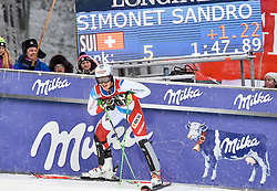 13.11.2016, Black Race Course, Levi, FIN, FIS Weltcup Ski Alpin, Levi, Slalom, Herren, 2. Lauf, im Bild Sandro Simonet (SUI) // Sandro Simonet of Switzerland  reacts after his 2nd run of mens Slalom of FIS ski alpine world cup at the Black Race Course in Levi, Finland on 2016/11/13. EXPA Pictures © 2016, PhotoCredit: EXPA/ Nisse Schmidt<br /> <br /> *****ATTENTION - OUT of SWE*****