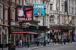 © Licensed to London News Pictures. 06/07/2020. London, UK. The Lyric, Apolloa and Gielgud Theatres on Shaftesbury Avenue in central London. The government has announced a £1.57bn bailout for the UK arts sector, which has been especially hard hit by the economic effects of lockdown and COVID-19. Photo credit: Rob Pinney/LNP