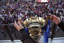 Cup at ceremony after last football match of PrvaLiga Telekom Slovenije between NK Maribor and NK Interblock, when Maribor became a Slovenian National Champion, on May 23, 2009, in Ljudski vrt, Maribor. (Photo by Marjan Kelner/Sportida)