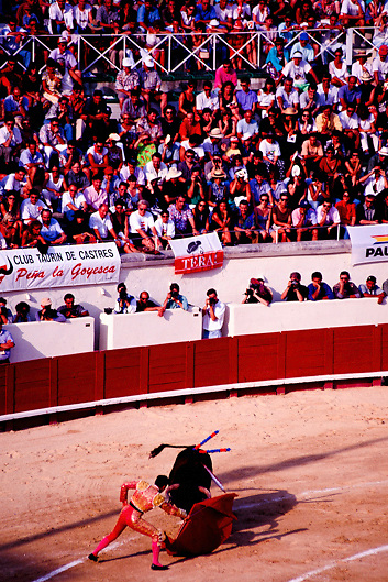 Bullfight in beziers in the Languedoc Roussillon region of South of France