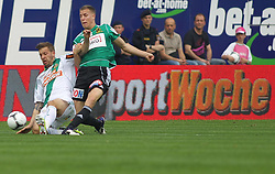 29.04.2012, Keine Sorgen Arena, Ried, AUT, 1. FBL, SV Josko Ried vs SK Rapid Wien, 32. Spieltag, im Bild Guido Burgstaller, (SK Rapid Wien, #30) und Lukas Rotpuller, (SV Josko Ried, #30), during the Austrian Bundesliga Match, 32nd Round, between SV Josko Ried and SK Rapid Wien at the Keine Sorgen Arena, Ried, Austria on 20120429. EXPA Pictures © 2012, PhotoCredit: EXPA/ R. Hackl